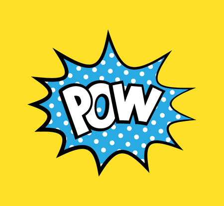 Pop art vector sticker with phrase Pow, polka dots explosion on background 일러스트