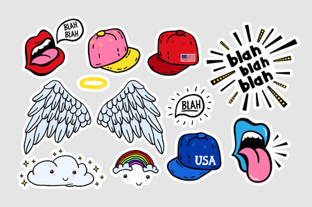 Comic youth stickers, patches in 70 s 80 s, 90 s rock, pop art style. Speech bubbles, different emotions, text. Suitable on laptop, jeans jacket, teenage adolescent clothes. Teen colorful vector set