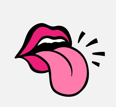 Pop art vettore parlando labbra rosse. Bocca semiaperta della donna sexy, leccata, lingua sporgente, conversazione. Isolato sul quadrato di colore