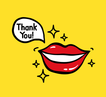 Pop art vector smiling red lips on yellow background with Speech Bubble text Thank you