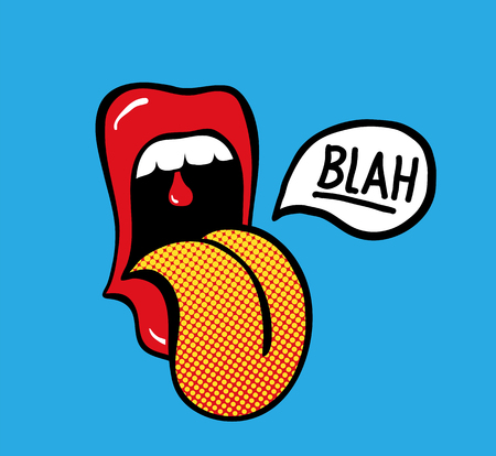Pop art vector speaking red lips. Sexy woman s Half-open mouth, licking, tongue sticking out, conversation. Isolated on color square