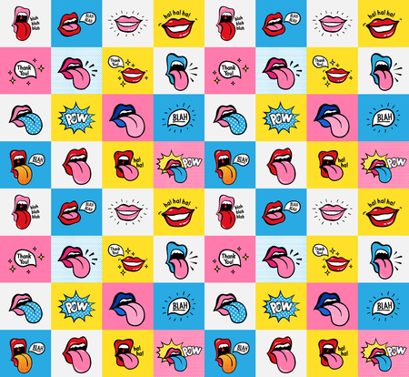 Pop art lips seamless pattern. Vector sexy woman s lips expressing different emotions Smile Half-open mouth, biting lip, licking, smiling, tongue sticking out, conversation. Isolated on color squares