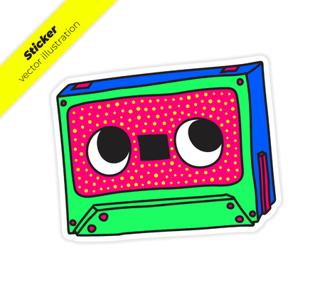 Compact Audio Cassette Musicassette music tape sticker vector illustration. Trend hand drawing picture Blue Green. Pop art fashion chic patch, pin, badge 일러스트
