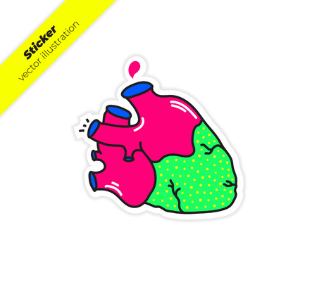 Real anatomy heart with aorta, a drop of blood sticker vector illustration. Trend hand drawing picture. Pop art fashion chic patch, pin, badge