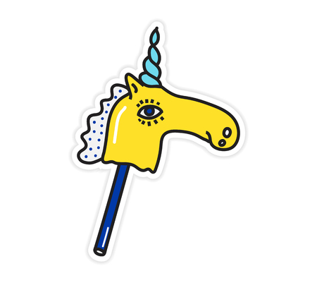 Magic colorful bright unicorn sticker vector illustration. Horse on a stick Trend hand drawing picture. Pop art fashion chic patch, pin, badge 일러스트