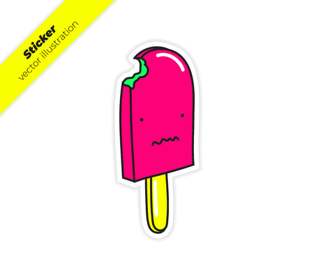 Bitten ice cream on a stick with distorted smile. Sticker vector illustration. Trend hand drawing picture. Pop art fashion chic patch, pin, badge