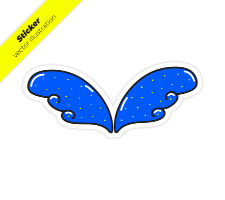Magic wings sticker vector illustration. Trend hand drawing picture. Pop art fashion chic patch, pin, badge 일러스트
