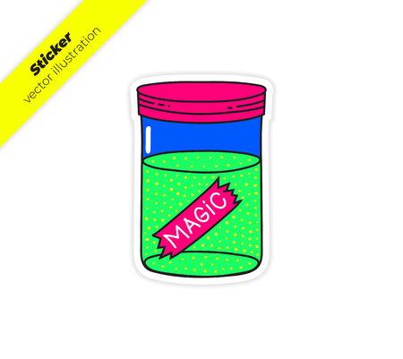 Fairy magic dust Dust Pixie Mini Bottles, DIY. Sticker vector illustration. Trend hand drawing picture. Pop art fashion chic patch, pin, badge
