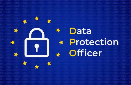 DPO - Data Protection Officer. EU flag with with lock symbol Vektorgrafik