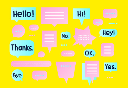 Vector colorful Simple flat speech bubbles shapes set and trendy hand drawn short phrases. Blue Pink Yellow colors