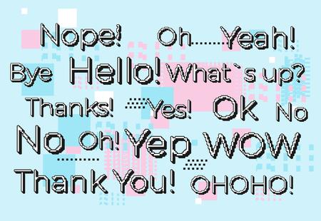 Vector short phrases in 8 bit pixel style