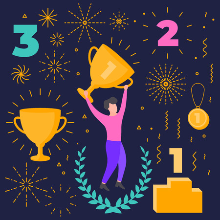 Winner objects set. Number one. Vector colorful flat collection of additional elements abstract modern geometric attributes, shapes for illustration design composition. First, second, third place