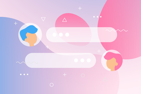 New Chat messages notification on gradient backdrop. Flat design illustration vector bubbles, geometric elements on screen, person chatting, online support, Internet virtual assistant concept 일러스트