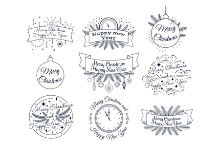Merry Christmas. Happy New Year. Typographic badges collection