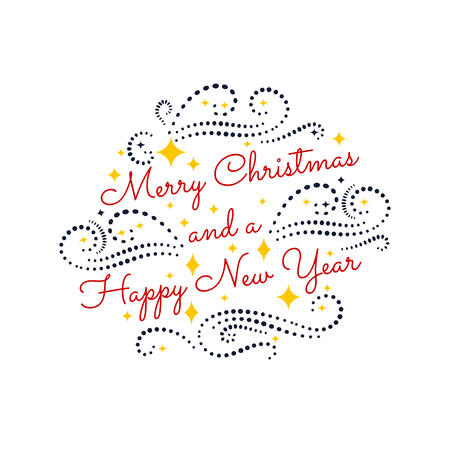 Merry Christmas. Happy New Year. Colorful vintage typographic fe 일러스트