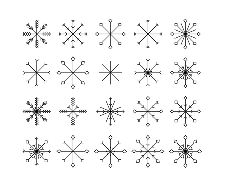 Snowflake icons set  isolated on white background