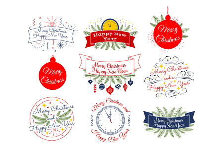 Merry Christmas. Happy New Year. Typographic badges collection. Vector editable linear logo, emblems, phrase design. For banners greeting cards gifts ad poster. Colorful Red Blue White Green 일러스트
