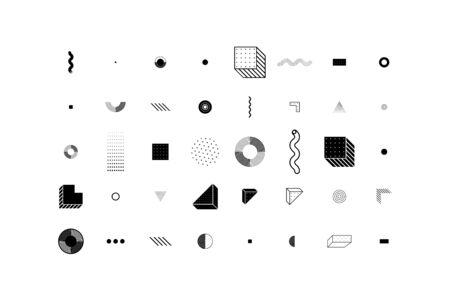 Universal trend halftone geometric shapes set juxtaposed with bright bold yellow elements composition. Design elements for Magazine, leaflet, billboard, sale Vektoros illusztráció