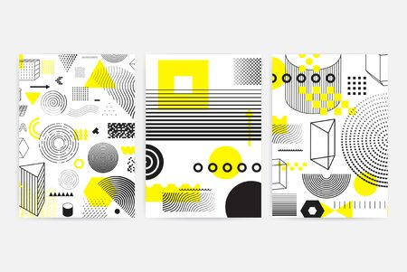 Universal trend posters set juxtaposed with bright bold geometric black, white and yellow elements composition. Background in restrained sustained tempered style. Magazine, leaflet, billboard, sale