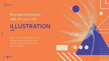 Vector business concept with universal abstract shapes, text for website design and development, app, responsive, programming, seo, maintenance, banner. Landing page template