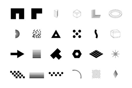 Universal trend halftone geometric shapes set juxtaposed with bright bold elements. Design elements for Magazine, leaflet, billboard, sale