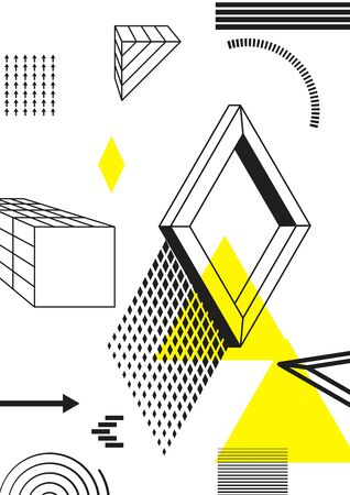 Universal trend poster juxtaposed with bright bold geometric black, white and yellow elements composition. Background in restrained sustained tempered style. Magazine, leaflet, billboard, sale