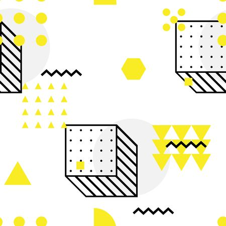 Universal high quality seamless geometric pattern, editable with clipping mask. Abstract yellow, black and white vector background with basic geometrical shapes