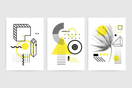 Universal trendy posters set juxtaposed with bright bold geometric shapes composition. Background in restrained sustained tempered style. Magazine, leaflet, billboard, sale