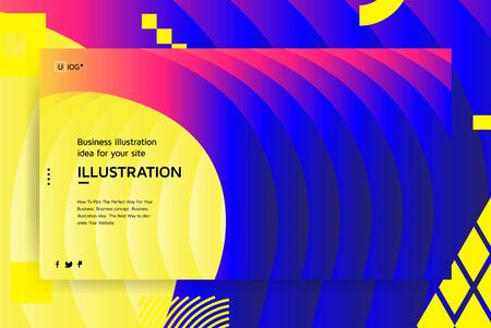 Vector illustration concept with universal abstract shapes, text for website design and development, app, responsive, programming, seo, maintenance, banner. Landing page template