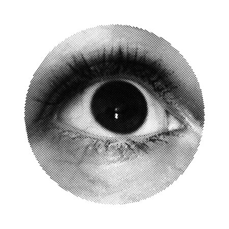 Close Up Human Eye. Vector Halftone Part Of Body