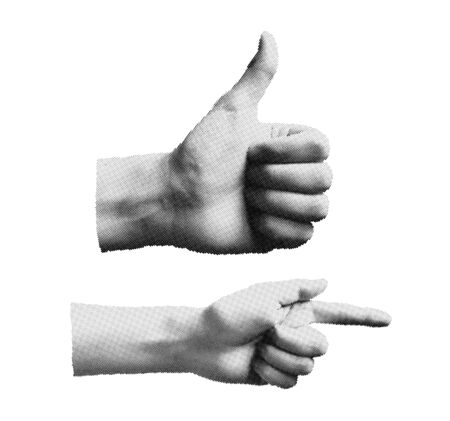 Set Of Halftone Human Hands in different poses. Vector Body Parts Suit For Your Futurism Design, Animation, Fanzine Art, Scrapbooking, Collage, Ad
