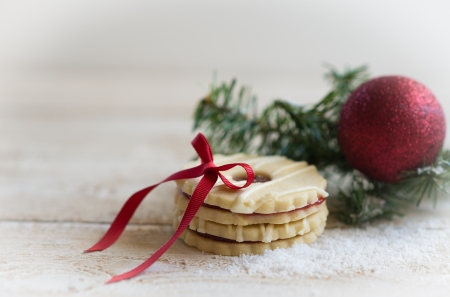 gingerbread cookies: Cookies with christmas decoration on wooden background Stock Photo