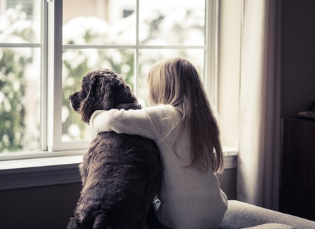 window: Little girl and her dog looking out the window. Stock Photo