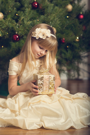 decorating christmas tree: Child holding Christmas gift.