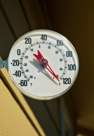 sweltering: Outdoor thermometer showing unusually hot summer temperatures Fahrenheit Stock Photo