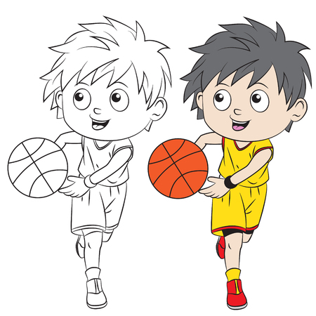 Cartoon boy playing basketball. Both in separate layers for easy editing and coloring
