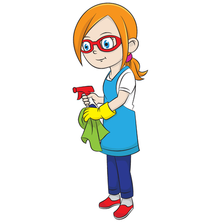 Cartoon girl wearing glasses was cleaning home using water spray Ilustração