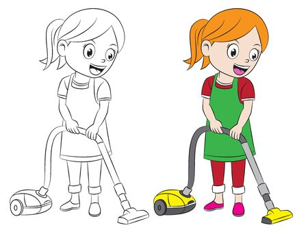 cartoon girl cleaning home using vacuum cleaner, both in separate layer for easy editing Ilustração