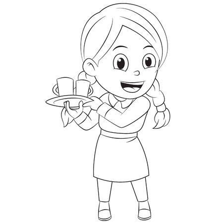 Cartoon cute waitress