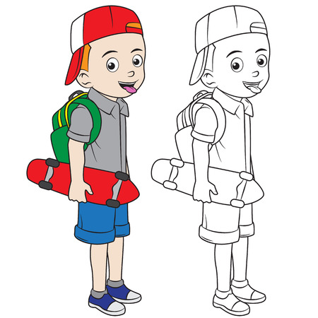 happy cartoon boy go back to school. colored using live paint bucket