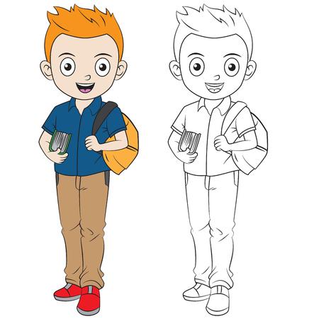 glücklicher Karikaturjunge geht zurück zur Schule. Umriss in separater Ebene zum einfachen Ausmalen