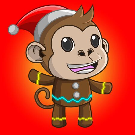 Illustration of cute cartoon monkey wearing a Christmas costume