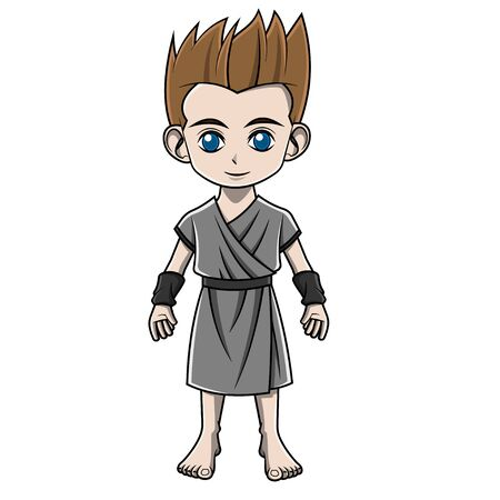 cartoon boy wearing greek costume Illustration