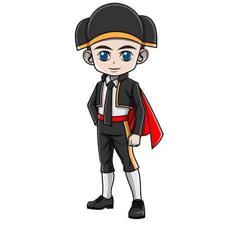 cartoon boy wearing Spanish costume