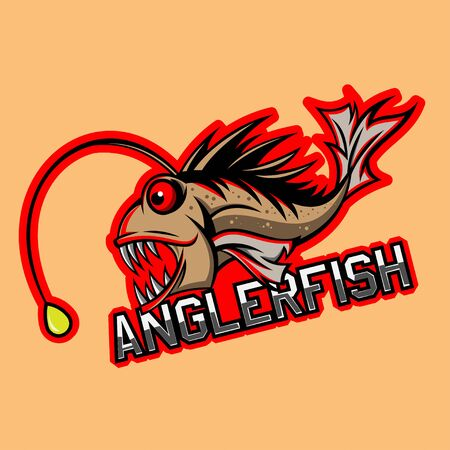 anglerfish mascot and esport gaming logo, background in separated layer