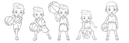 Cartoon collection of boys playing basketball for coloring books