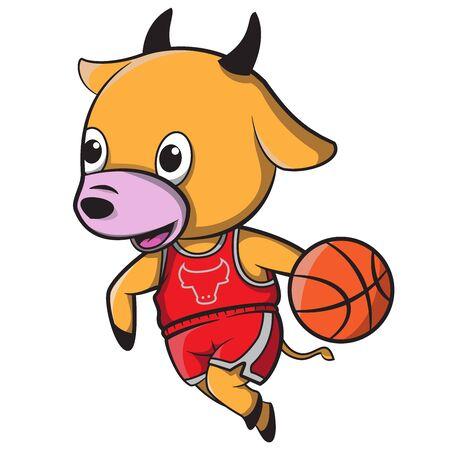 cute cow cartoon playing basketball