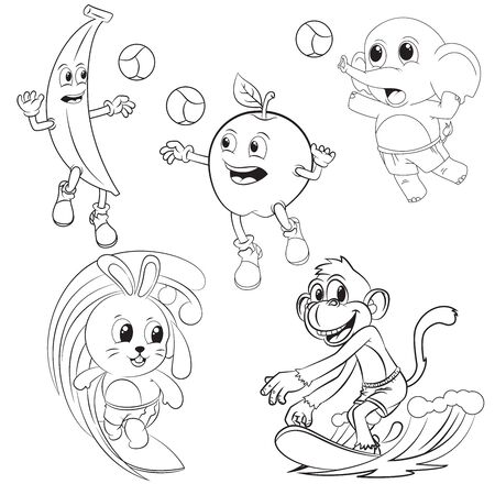animal and fruit cartoon collection playing volleyball and surf for coloring book Vettoriali