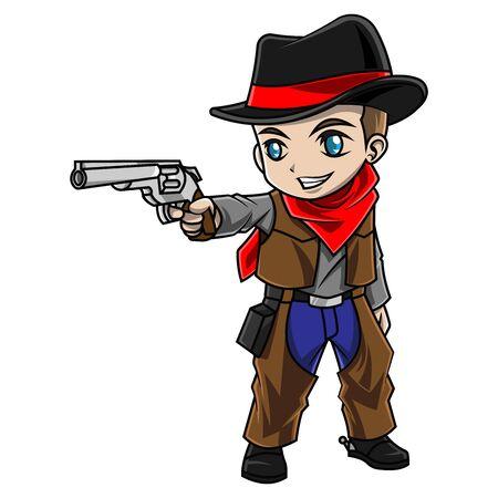 cartoon boy wearing cowboy costume