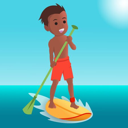 flat design of happy surfer boy Ilustrace